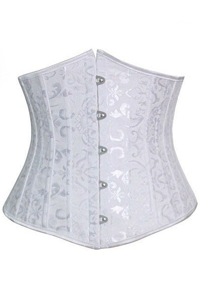 White Jacquard Underbust Waist Trainer Corset with 24 Bones - IBL Fashion - 1