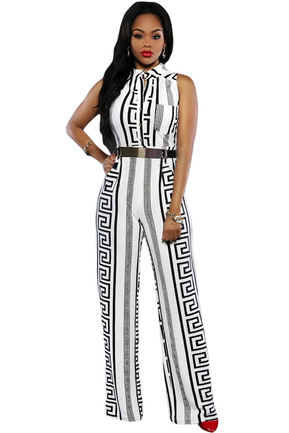 Decorative Print Sleeveless Gold Belt Jumpsuit 64021 - IBL Fashion - 1