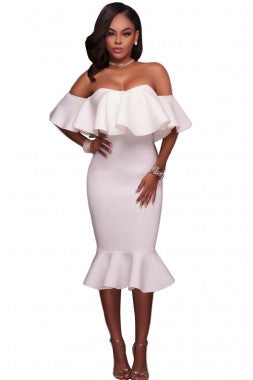 White Off Shoulder Ruffle Bodycon Dress