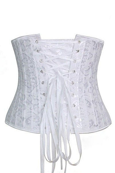 White Jacquard Underbust Waist Trainer Corset with 24 Bones - IBL Fashion - 2