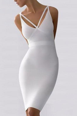Celebrity StyleV-neck Empire Waist Bandage Dress - IBL Fashion
