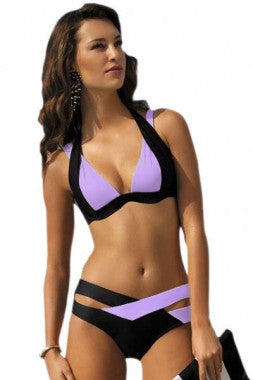 Color Block 2 Piece Halter Swimsuit - IBL Fashion - 3