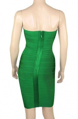 Celebrity Style Bandeau Bandage Dress-Green - IBL Fashion - 3