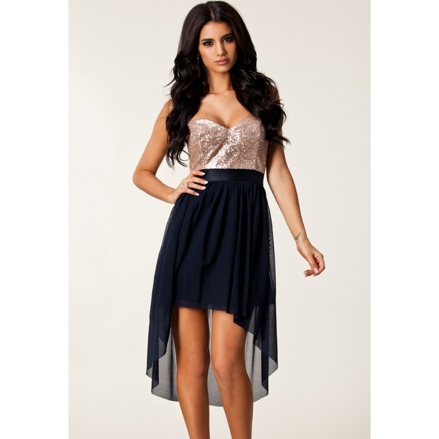 Navy Nude Sequin High Low Cocktail Dress 6254 - IBL Fashion - 3