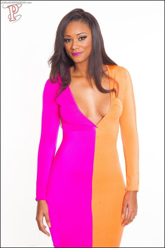 Orange Pink Vee Open Front Color Block Patchwork Bodycon Dress - IBL Fashion - 6