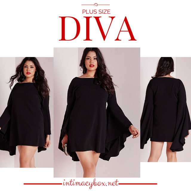 Plus Size Diva Black Flared Sleeve Swing Dress - IBL Fashion - 2
