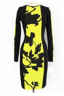Beyonce Hot Leaf Print Colorblock Bodycon Dress 6229 - IBL Fashion - 4