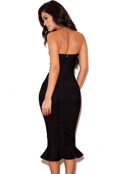 Celebrity Style Black Strapless Fishtail Bandage Dresses - IBL Fashion - 4