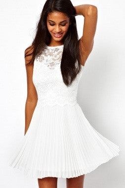 White Lace Skater Dress with Pleats - IBL Fashion - 2