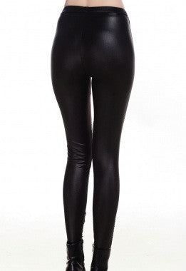 Black Lace-up Faux Leather Leggings - IBL Fashion - 5