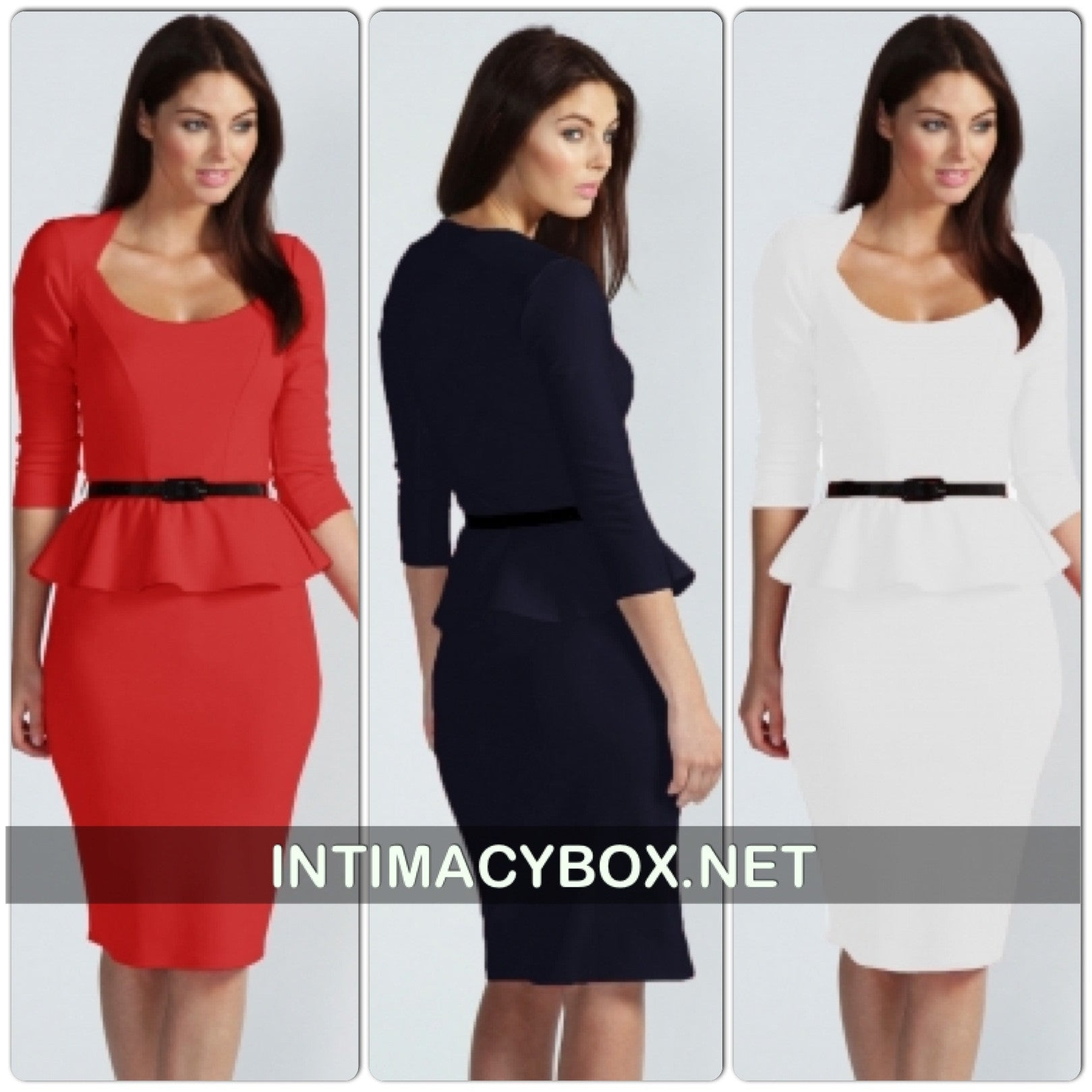 Red Long Sleeve Belted Peplum Midi Dress - IBL Fashion - 2