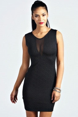 Black Textured Mesh Front Bodycon Dress Item LC21021-2 - IBL Fashion