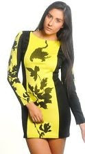 Beyonce Hot Leaf Print Colorblock Bodycon Dress 6229 - IBL Fashion - 3
