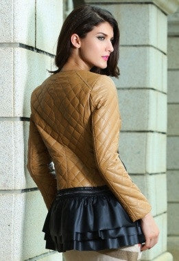 Camel Collarless Quilted Jacket - IBL Fashion - 5