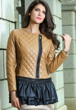 Camel Collarless Quilted Jacket - IBL Fashion - 3