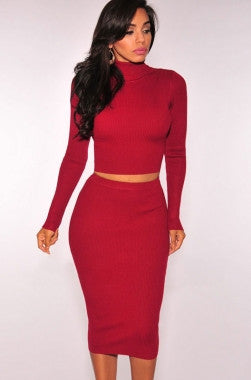 Red Ribbed Knit Turtleneck Two Pieces Dress LC27615 - IBL Fashion - 1