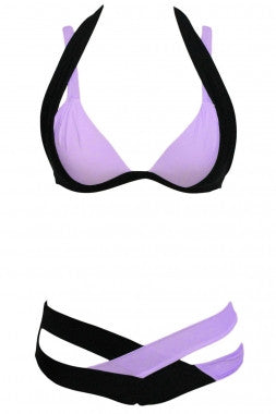 Color Block 2 Piece Halter Swimsuit - IBL Fashion - 8