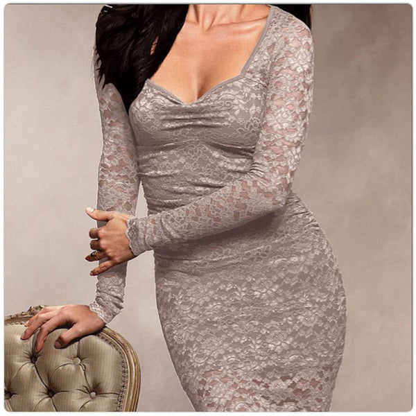 InStock Grey Long Sleeve Lace Dress - IBL Fashion