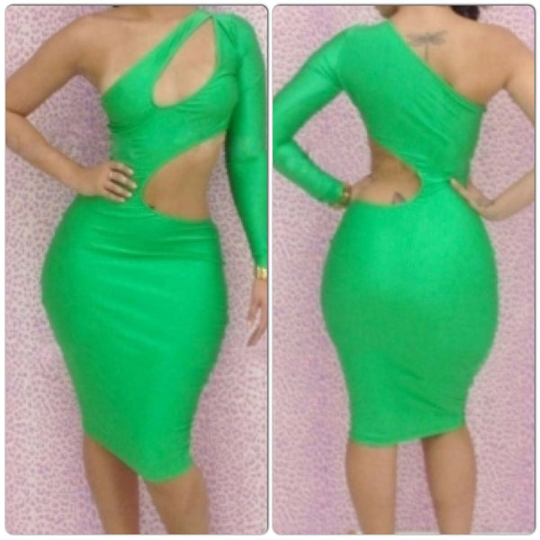 Green One-shoulder Cutout Club Bodycon Dress - IBL Fashion