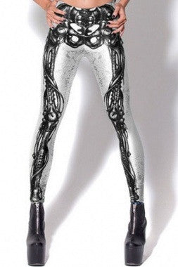 Digital Print Mechanical Bones Legging-Black - IBL Fashion - 3