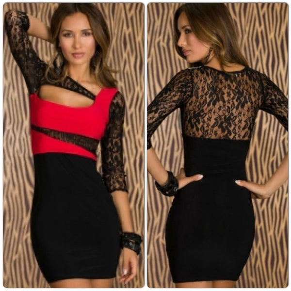 Lace Sleeves Color Block Bodycon Dress Black - IBL Fashion - 1