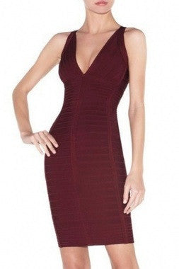 Celebrity Style Vee Front Bandage Dress-Burgandy - IBL Fashion - 1
