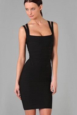 Celebrity Style Double Straps Bandage Dress-Black - IBL Fashion - 2