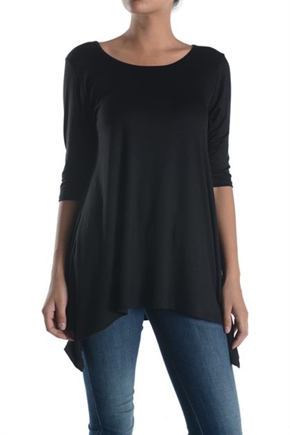 Fashion Fab Loose Fit Top with 3/4 Sleeve and Asymmentrical Hem - IBL Fashion - 1