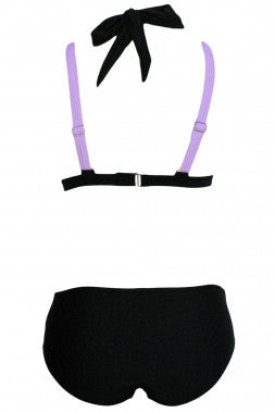 Color Block 2 Piece Halter Swimsuit - IBL Fashion - 13