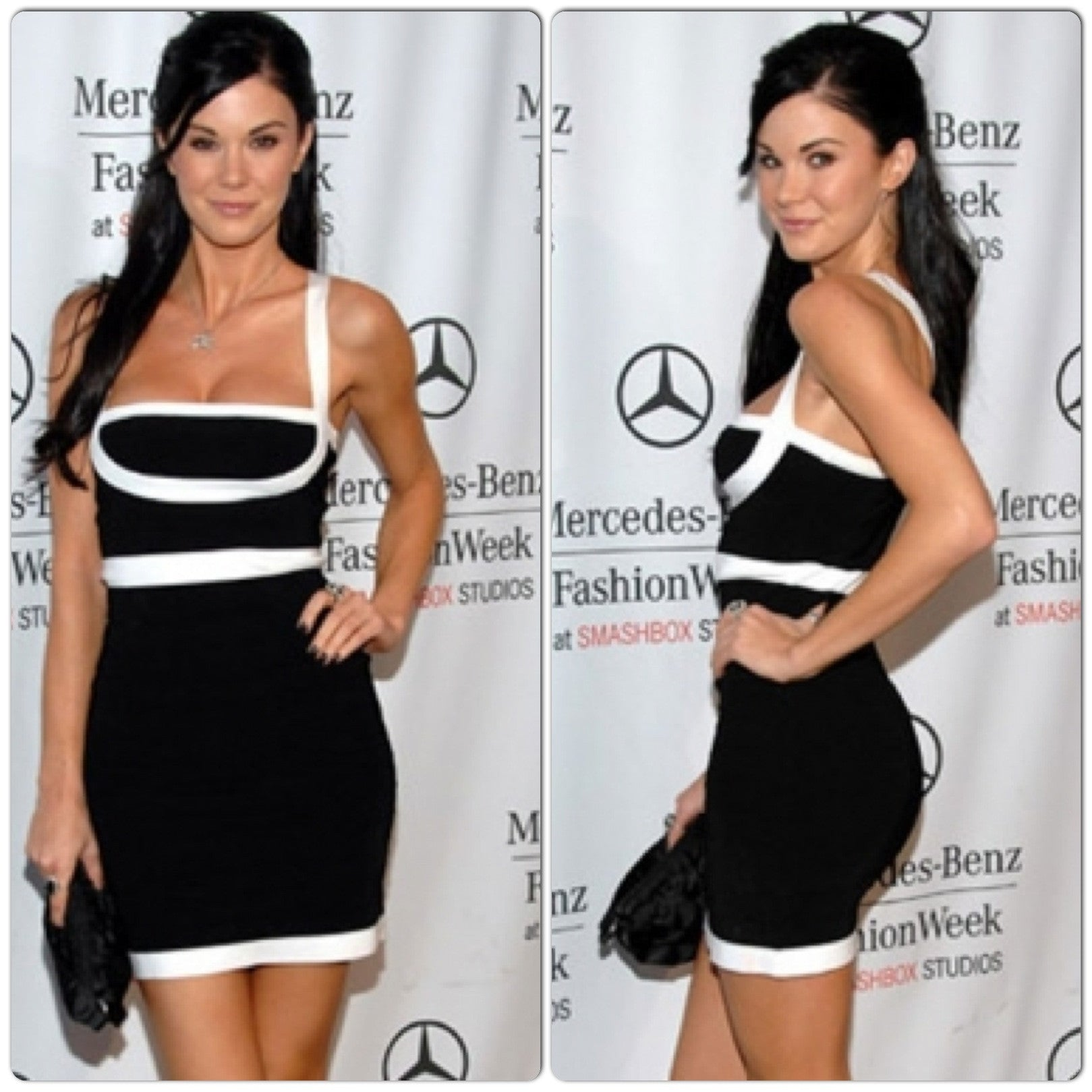 Celebrity Style Spaghetti Strap Mini Bandage Dress- Black/White - IBL Fashion - 1