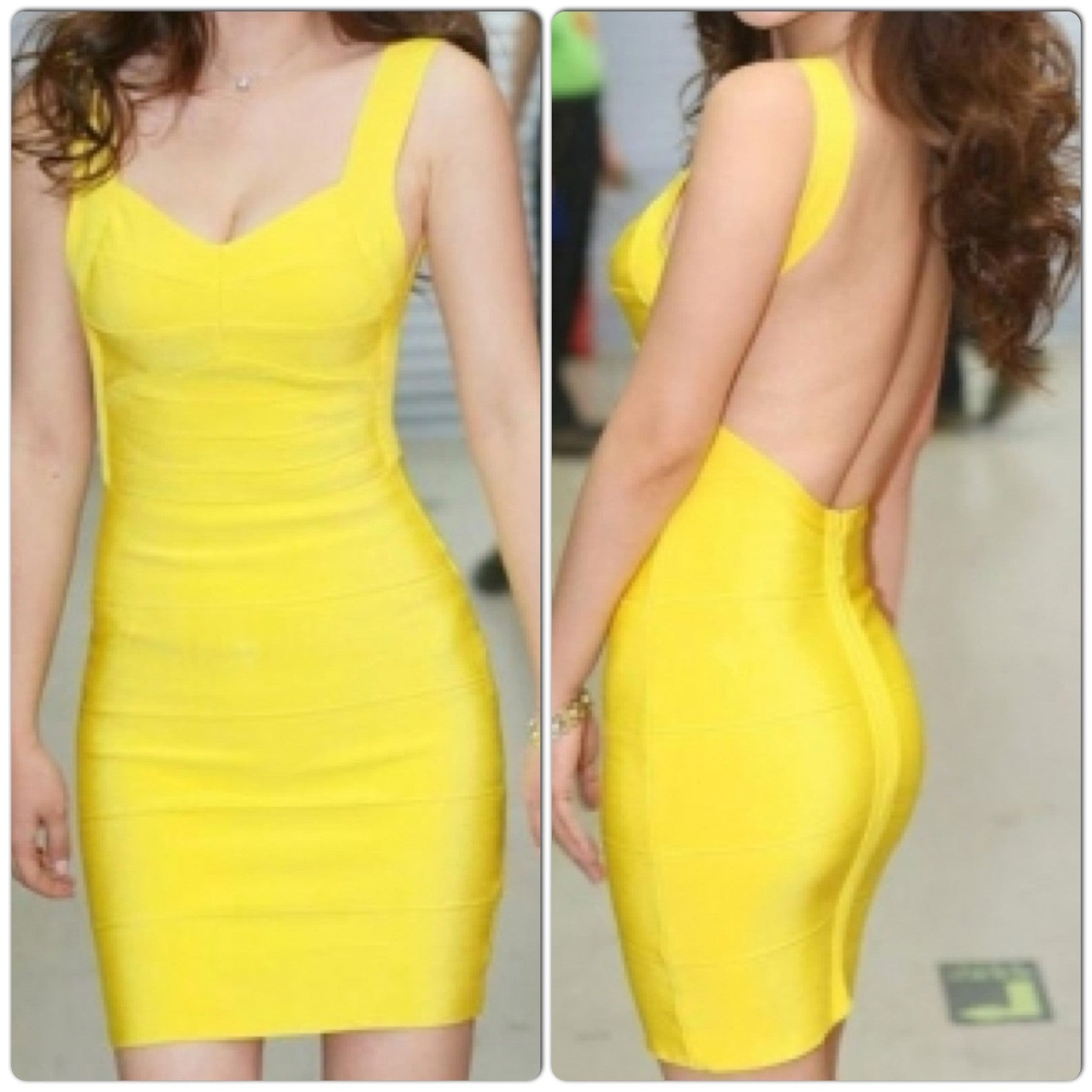 Celebrity Style Blunging Backout Bandage Dress-Yellow - IBL Fashion - 1