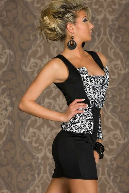 InStock Black & White Floral Sleeveless Dress - IBL Fashion - 3