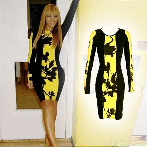 Beyonce Hot Leaf Print Colorblock Bodycon Dress 6229 - IBL Fashion - 1