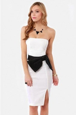 Stunning Strapless Side Bow  Dress- White - IBL Fashion - 2