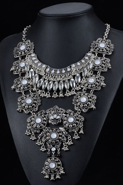 Retro Bling Jeweled Bib Necklace - IBL Fashion - 1