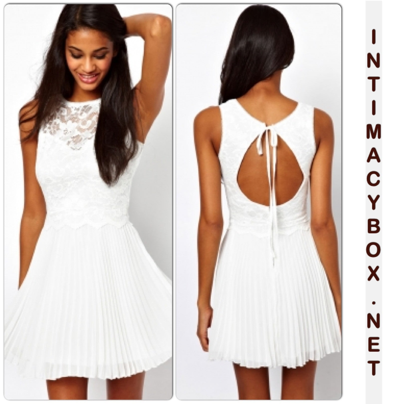 White Lace Skater Dress with Pleats - IBL Fashion - 1