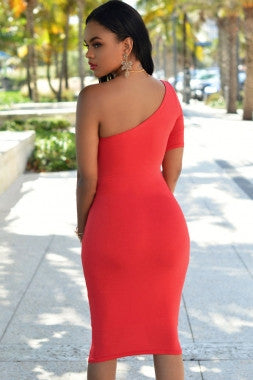 One Shoulder Short Sleeve Bodycon Dress - IBL Fashion - 3