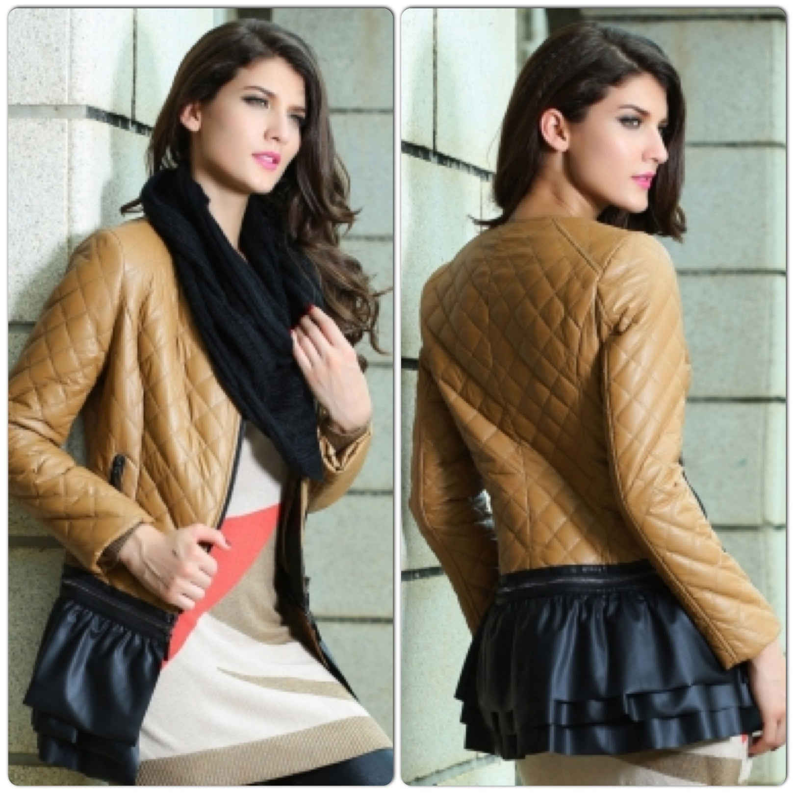 Camel Collarless Quilted Jacket - IBL Fashion - 1