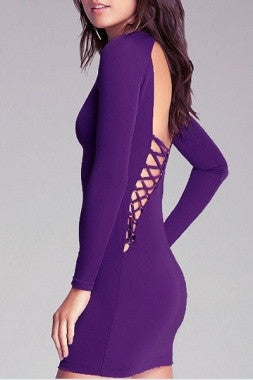 Purple Hollow out Back Lace-up Mini Dress LC2991 - IBL Fashion - 2