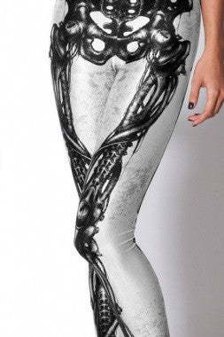 Digital Print Mechanical Bones Legging-Black - IBL Fashion - 7