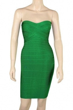 Celebrity Style Bandeau Bandage Dress-Green - IBL Fashion - 2
