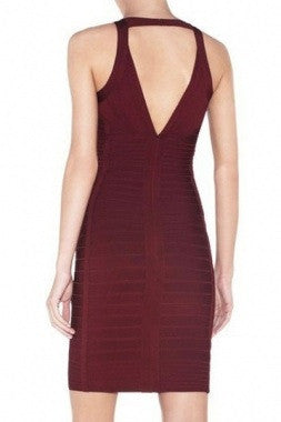 Celebrity Style Vee Front Bandage Dress-Burgandy - IBL Fashion - 2