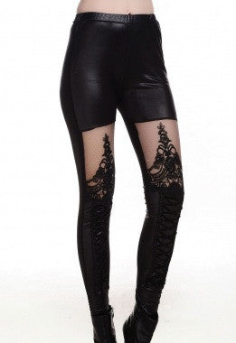 Black Lace-up Faux Leather Leggings - IBL Fashion - 4
