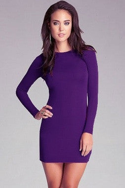 Purple Hollow out Back Lace-up Mini Dress LC2991 - IBL Fashion - 3