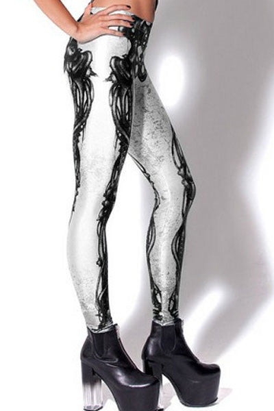 Digital Print Mechanical Bones Legging-Black - IBL Fashion - 6