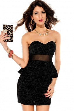 Black Mesh Waisted Glitter Peplum Dress - IBL Fashion - 3
