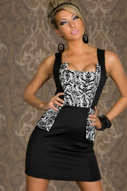 InStock Black & White Floral Sleeveless Dress - IBL Fashion - 1