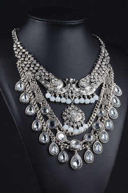 Silver Peacock In Love Gorgeous Diamond Collar Necklace - IBL Fashion