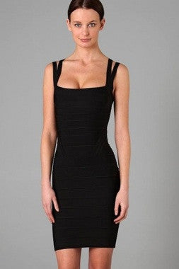 Celebrity Style Double Straps Bandage Dress-Black - IBL Fashion - 3