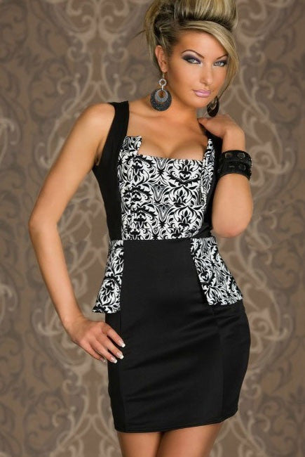 InStock Black & White Floral Sleeveless Dress - IBL Fashion - 2
